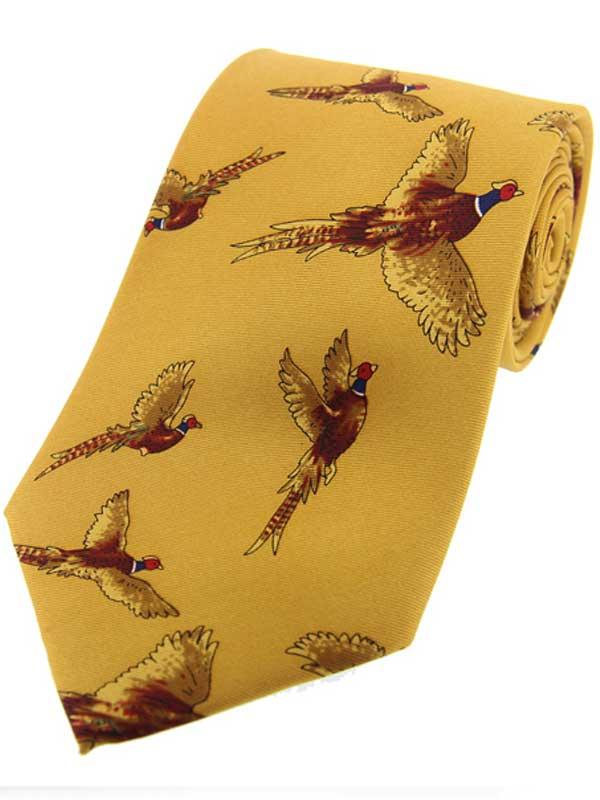 Soprano - Mustard Flying Pheasants Silk Country Tie