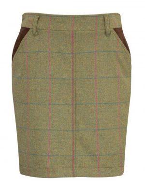 ALAN PAINE - Ladies Combrook Tweed Long Skirt - Juniper