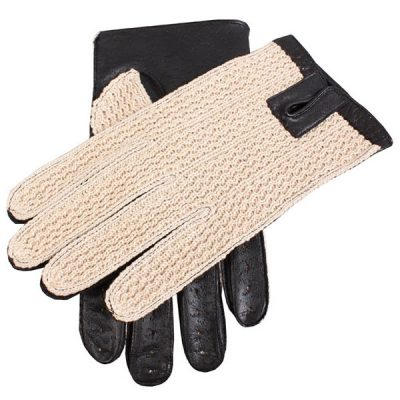 Dents Lancaster Men's Driving Gloves Leather & Crochet Backed - Black