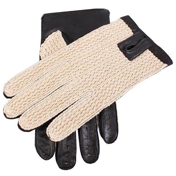 Dents Lancaster Men's Driving Gloves Leather & Crochet Backed - Black
