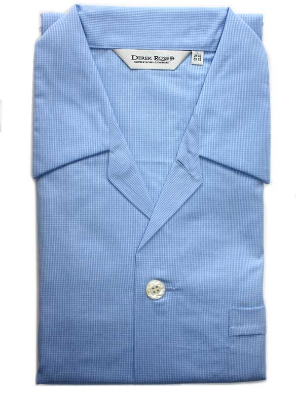 Derek Rose - Jermyn Cotton Pyjamas - Blue Fine Check