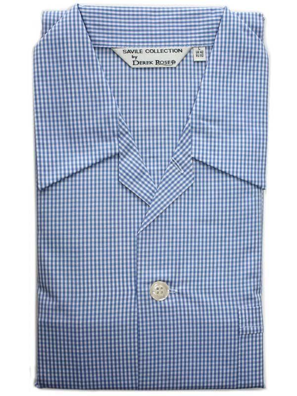 Derek Rose - Jermyn Cotton Pyjamas - Blue Gingham Check