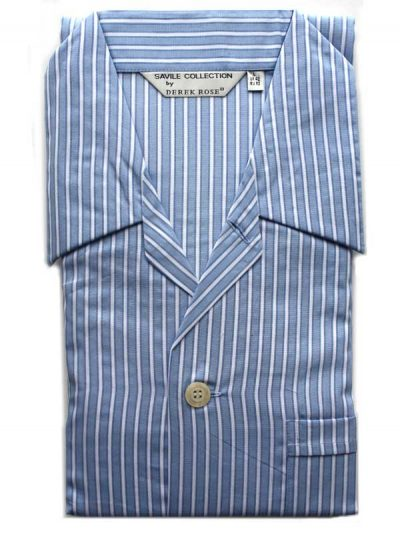 Derek Rose - Jermyn Cotton Pyjamas - Ground Blue Stripes