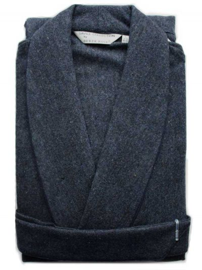 Derek Rose - Pure Wool Dressing Gown - Blue