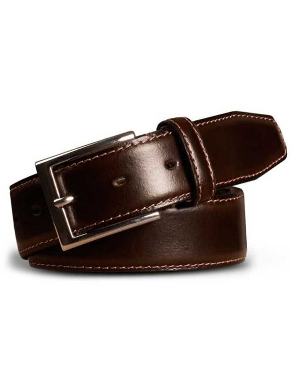 Meyer Stretch Leather Belt - Brown