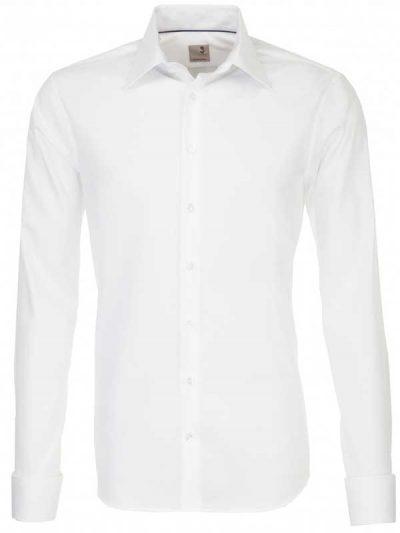 Seidensticker Shirts - Schwarze Slim Fit Double Cuff - White