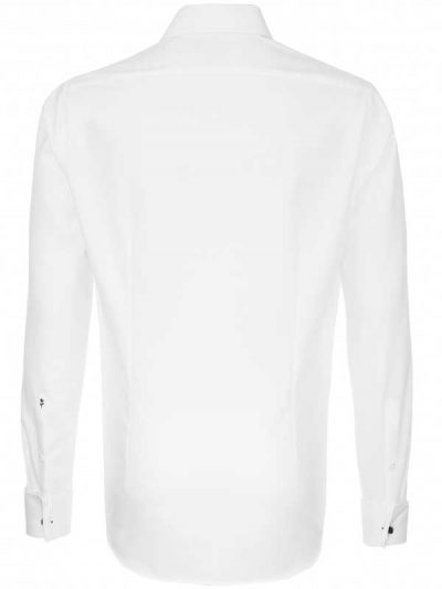 Seidensticker Shirts - Schwarze Slim Fit Double Cuff - White