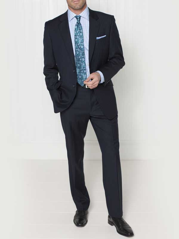 Brook Taverner - Navy Herringbone Suit - Dawlish Classic Fit