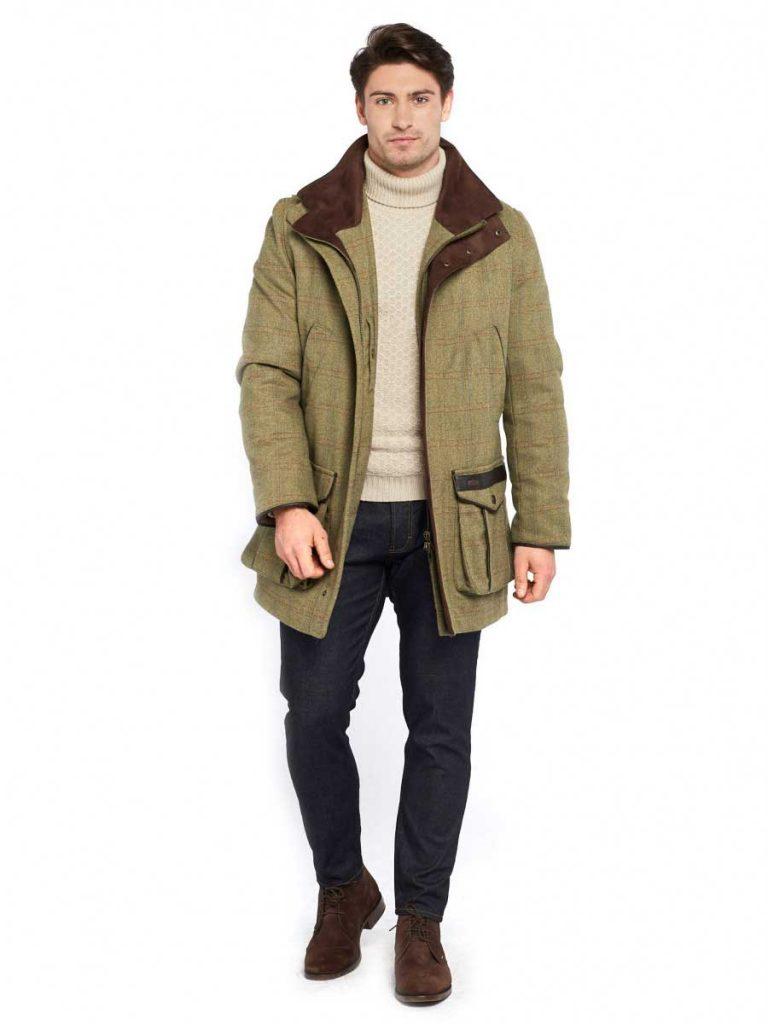 DUBARRY Shooting Coat - Mens Ballyfin Tweed Gore-Tex Jacket - Acorn