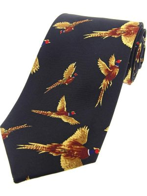 Soprano - Flying Pheasants Silk Country Navy Tie