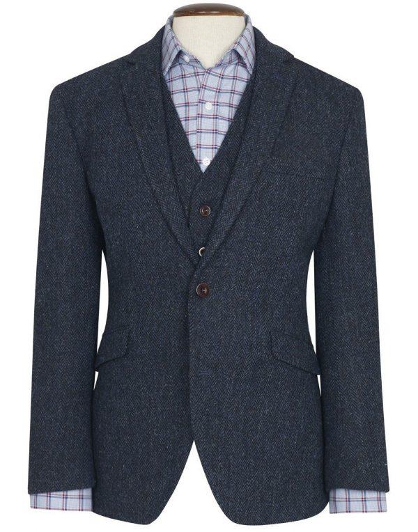 Harris Tweed Stranrear Jacket - Navy Herringbone