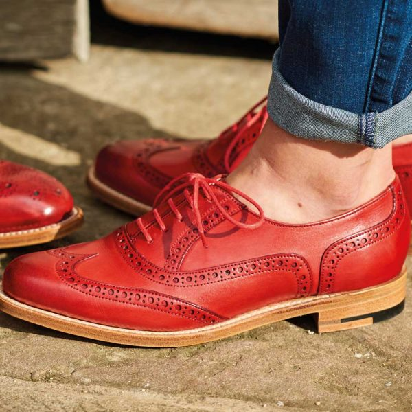 Barker Ladies Fearne Brogue Shoes - Red Hand-Painted