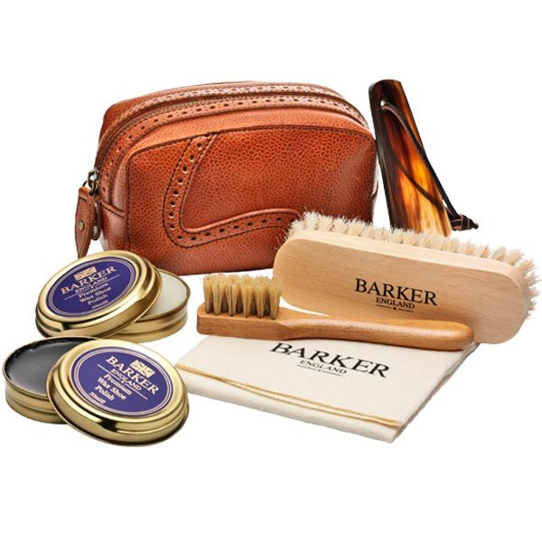 Barker Shoe Care Kit - Luxury Valet Set - 1x Black & 1x Neutral Polish