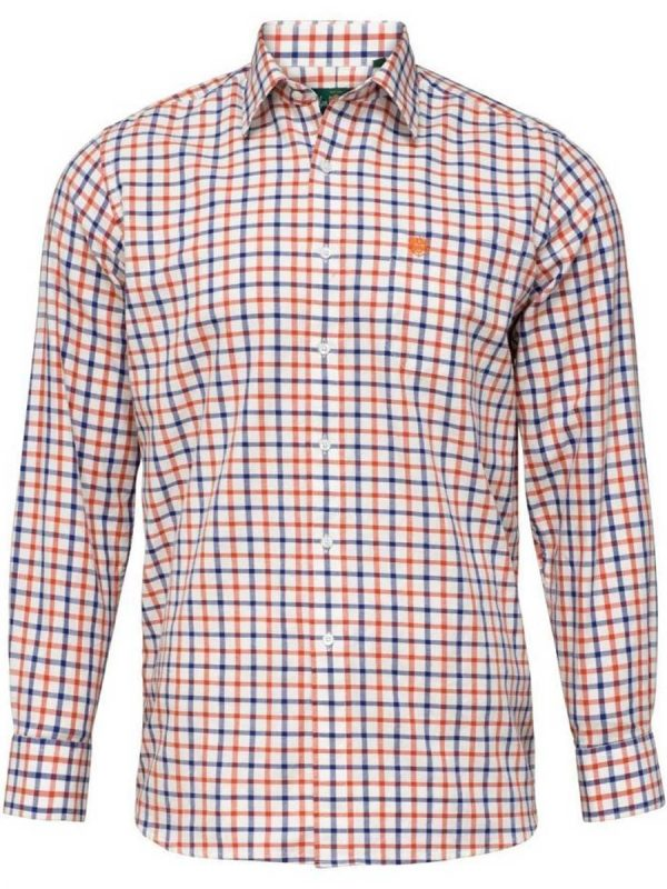 ALAN PAINE - Mens Ilkley Country Check Shirt - Russet
