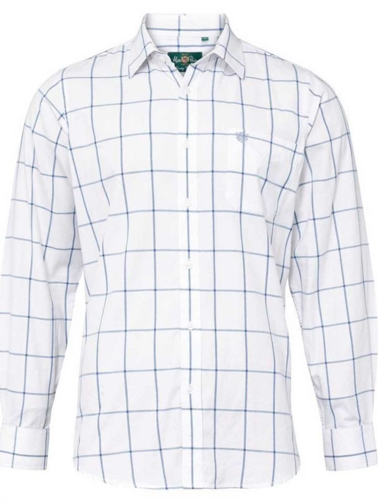 ALAN PAINE - Mens Ilkley Country Check Shirt - Blue