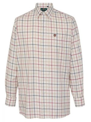 ALAN PAINE - Mens Ilkley Country Check Shirt - Red Wide Check