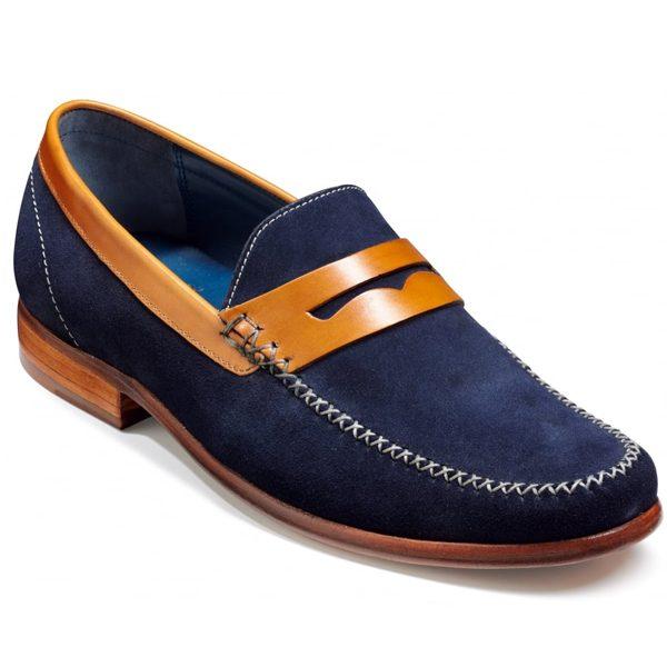 Barker Shoes - William - Navy Suede & Cedar Collar