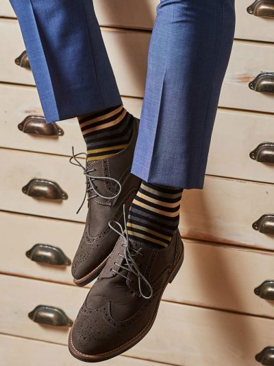 Pantherella Socks - Mens Kilburn Cotton - Black Stripe