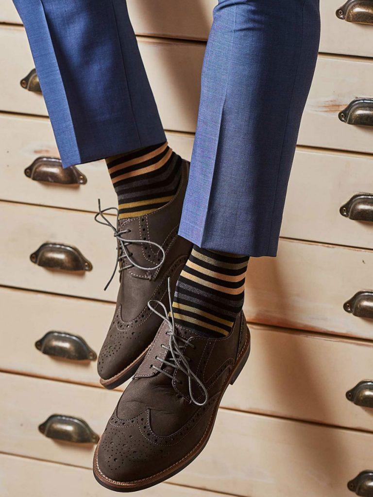 Pantherella Socks - Mens Kilburn Cotton - Black Stripe