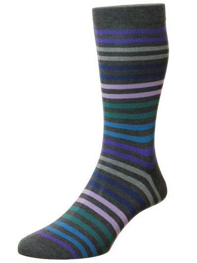 Pantherella Socks - Cotton Kilburn Dark Grey Stripe