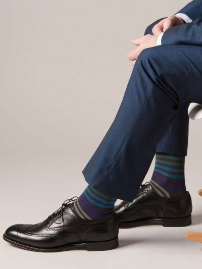 Pantherella Socks - Cotton Kilburn Dark Grey Stripe