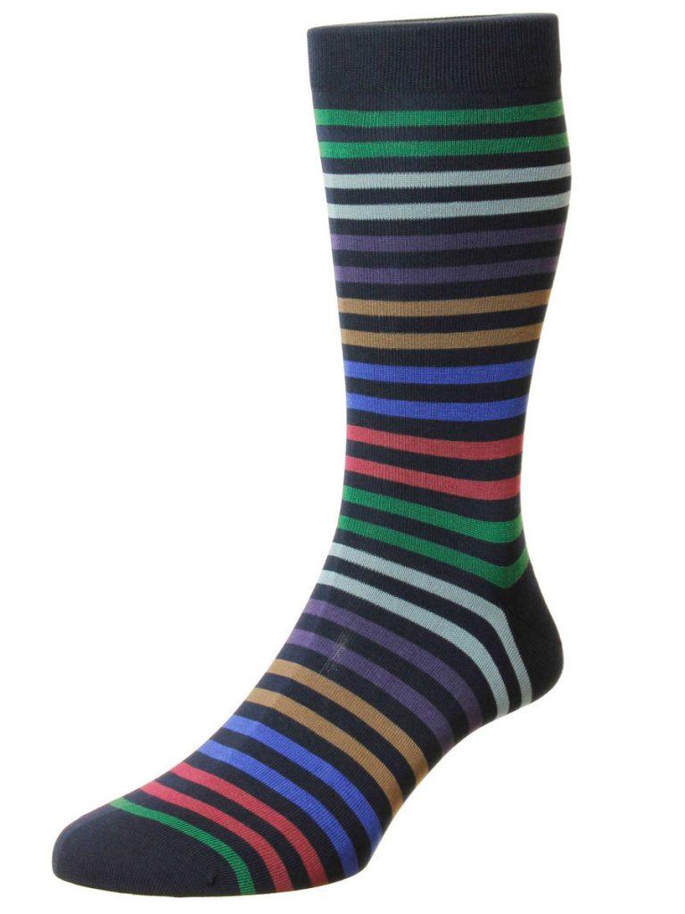 Pantherella Socks - Cotton Kilburn Navy Stripe