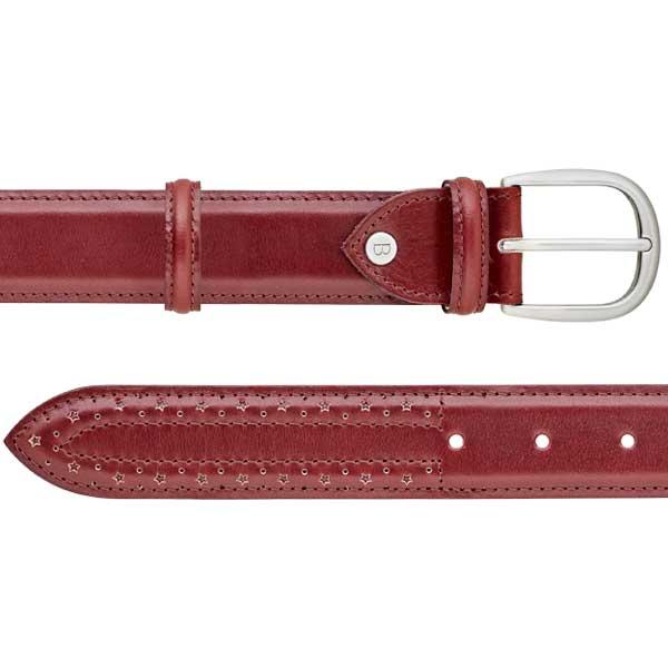 Barker Brogue Belt - Cherry Calf - Star Punch