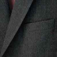 Magee Jacket - Dark Green Herringbone Donegal Tweed - Close Up