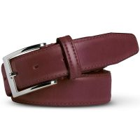 Meyer Trousers Stretch Leather Belt - Bordeaux