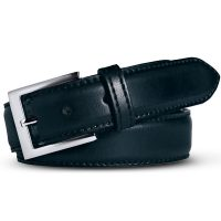 Meyer Trousers Stretch Leather Belt - Navy