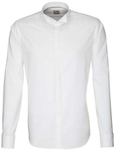 Seidensticker Shirts - Schwarze Slim Fit Wing Collar - White