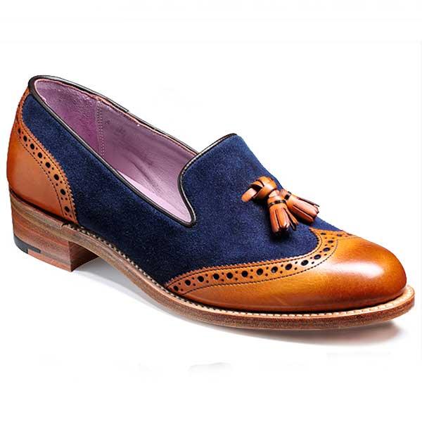 Barker Ladies Shoes – Amber – Cedar Calf & Navy Suede