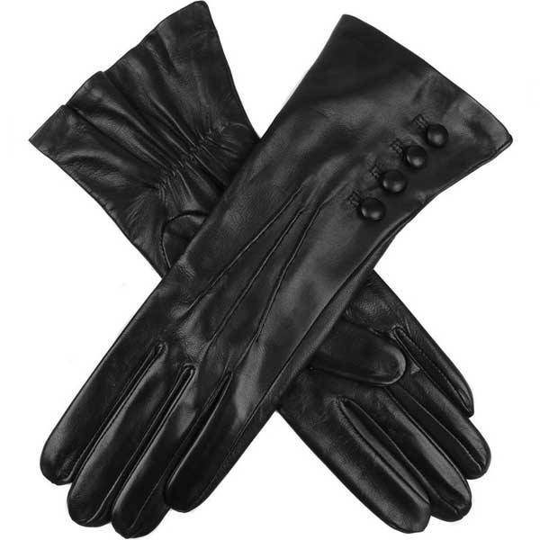 Dents Ladies - Rose Silk Lined Leather Gloves - Black