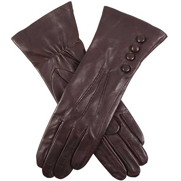 Dents Ladies - Rose Silk Lined Leather Gloves - Mocca