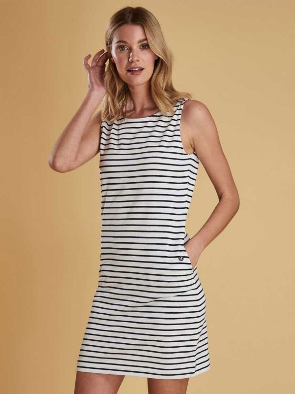 Barbour Dalmore Nautical Striped Ladies Dress - White (front)