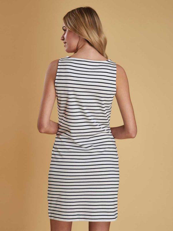Barbour Dalmore Nautical Striped Ladies Dress - White (back)