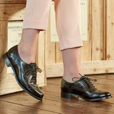 Barker Ladies Freya Brogues - Black Hi-Shine