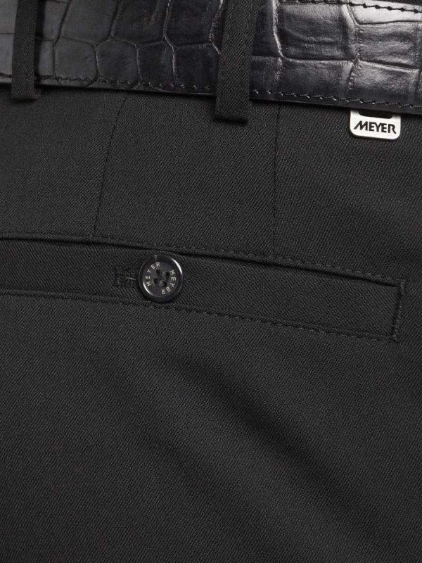 Meyer Roma 288 - Fine Gabardine Wool Mix Trousers - Black