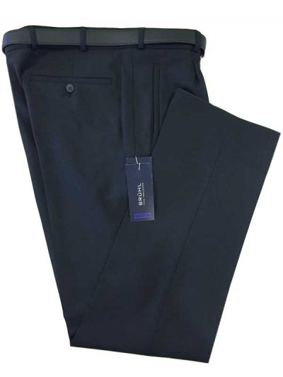 Bruhl - Howard Wool Mix Pleated Formal Trouser - Navy