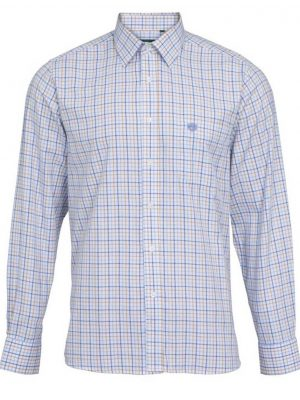 ALAN PAINE - Mens Aylesbury Country Check Shirt - Blue & Beige