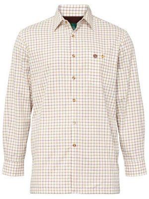 ALAN PAINE - Mens Bury Fleece Lined Country Check Shirt - Gazelle