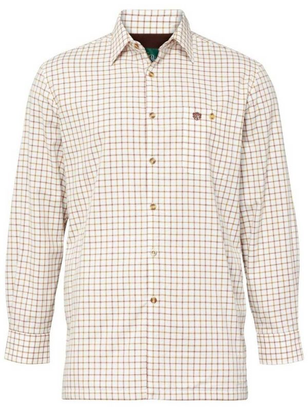 ALAN PAINE - Mens Bury Fleece Lined Country Check Shirt - Gazelle