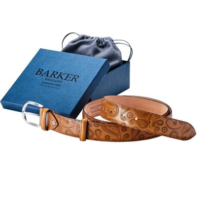 Barker Plain Leather Belt - Cedar Calf & Paisley Laser