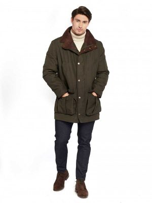 DUBARRY Shooting Coat - Mens Rathmullan Waterproof Gore-Tex Jacket - Dark Olive