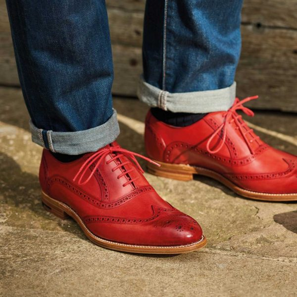 Barker Shoes - Mens Valiant Brogues - Red Hand Painted