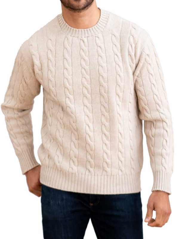 WILLIAM LOCKIE Crew Neck - Mens Chirnside 4 Ply Cashmere Cable Knit - 6 Colour Options