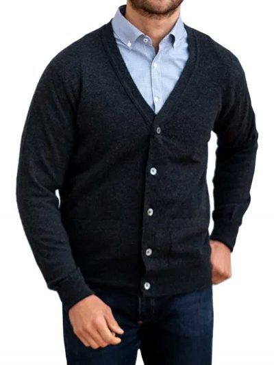 WILLIAM LOCKIE Cardigan - Mens Oxton 1 Ply Cashmere - 4 Colour Options