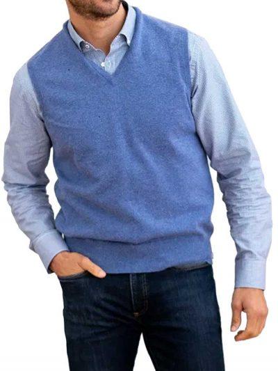 WILLIAM LOCKIE Slipover - Mens Oxton 1 Ply Cashmere - 4 Colour Options