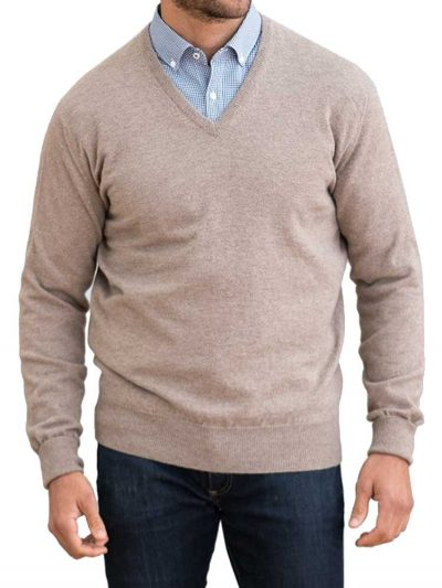WILLIAM LOCKIE V-Neck - Mens Oxton 1 Ply Cashmere - 15 Colour Options