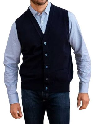 WILLIAM LOCKIE Waistcoat - Mens Oxton 1 Ply Cashmere - 4 Colour Options